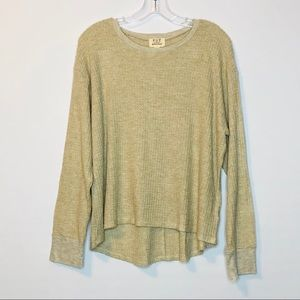 PST Womens Waffle Thermal Top Large Oatmeal NEW